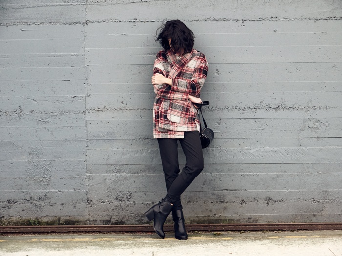 Plaid coat in autumn
