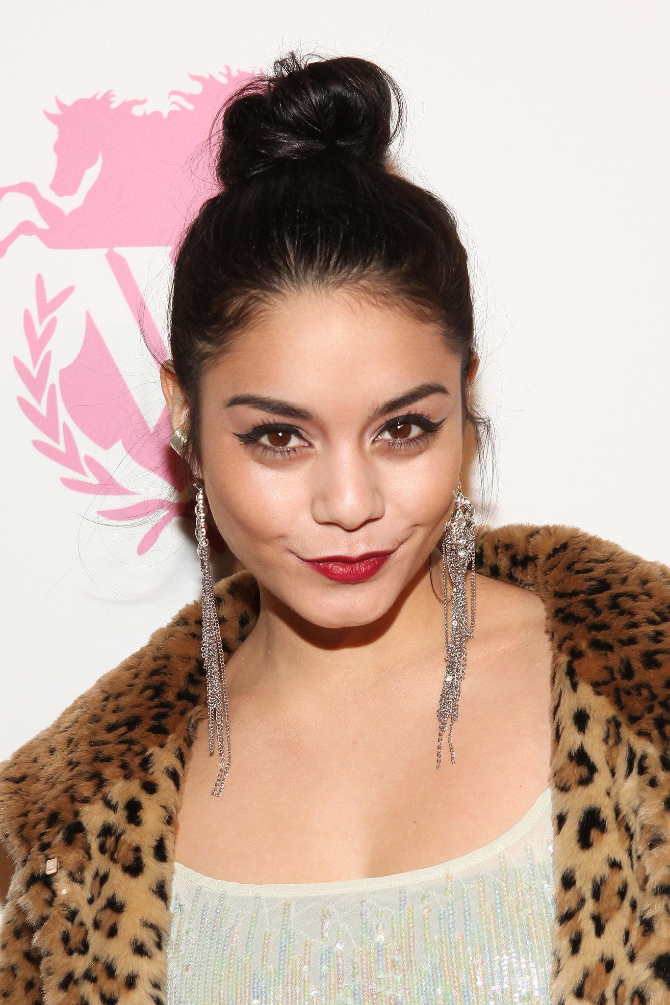 dress-up-top-knot-like-Vanessa-Hudgens-just-add-red-lipstick
