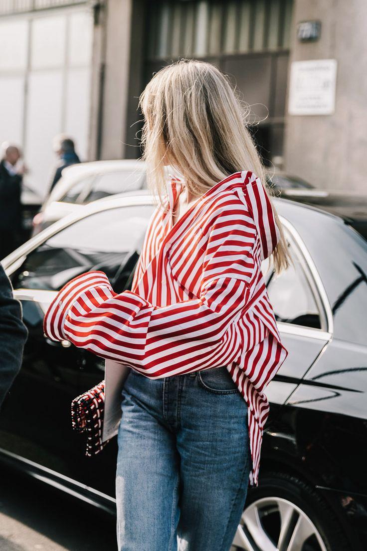 Camisa de rayas rojas