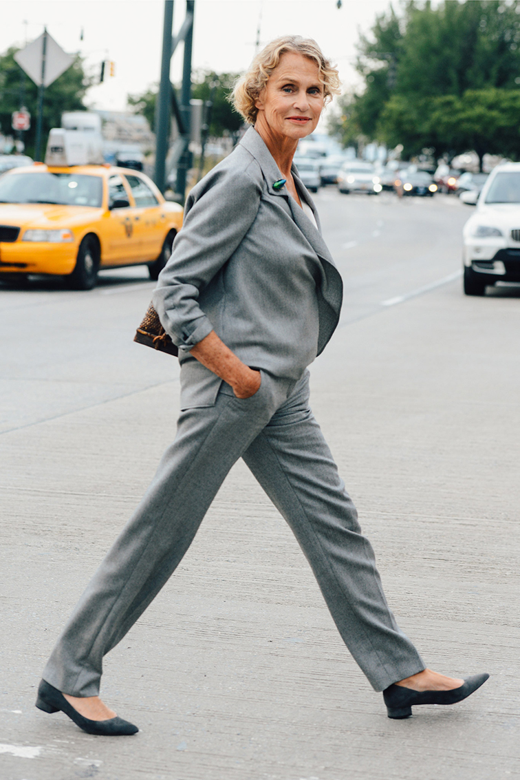 Style dot com, Tommy Ton, Lauren Hutton street style, fashion week, grey suit