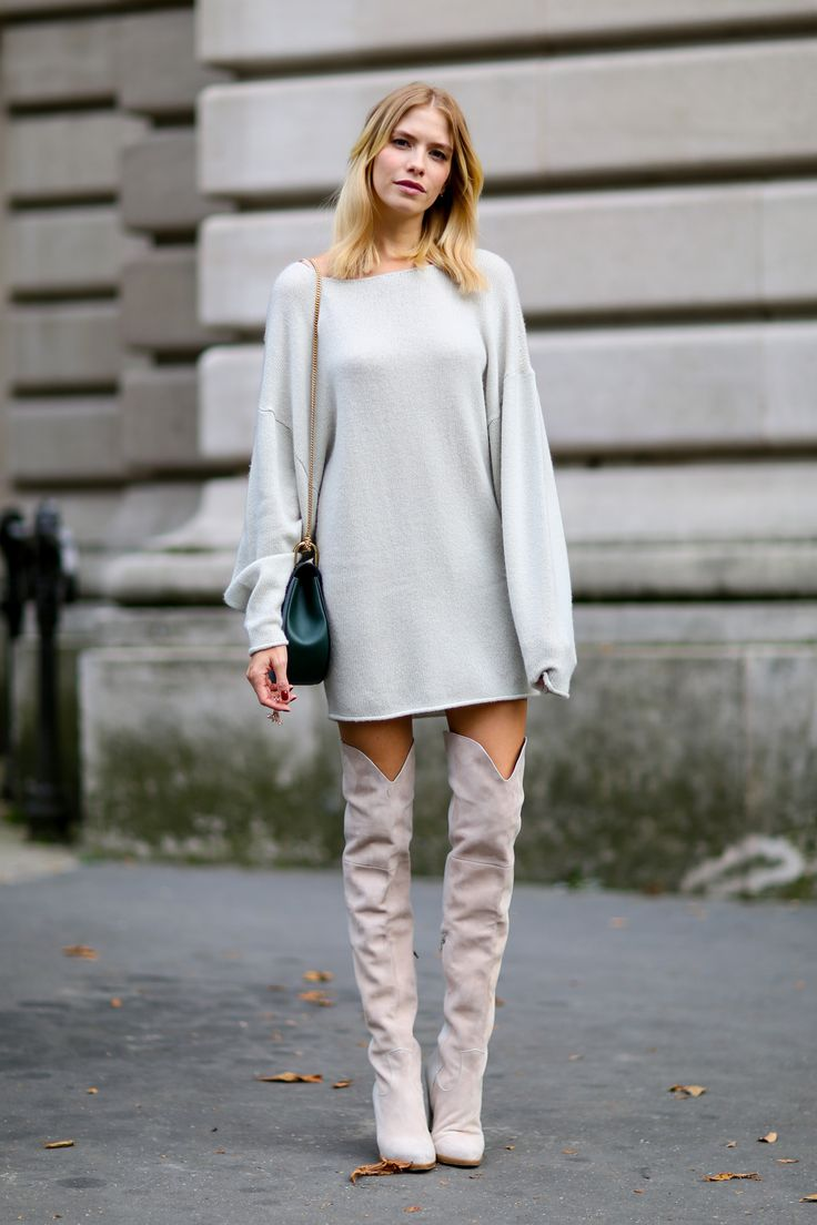 SweaterDress-in-light-Gray-and-Over-the-Knee-Boots