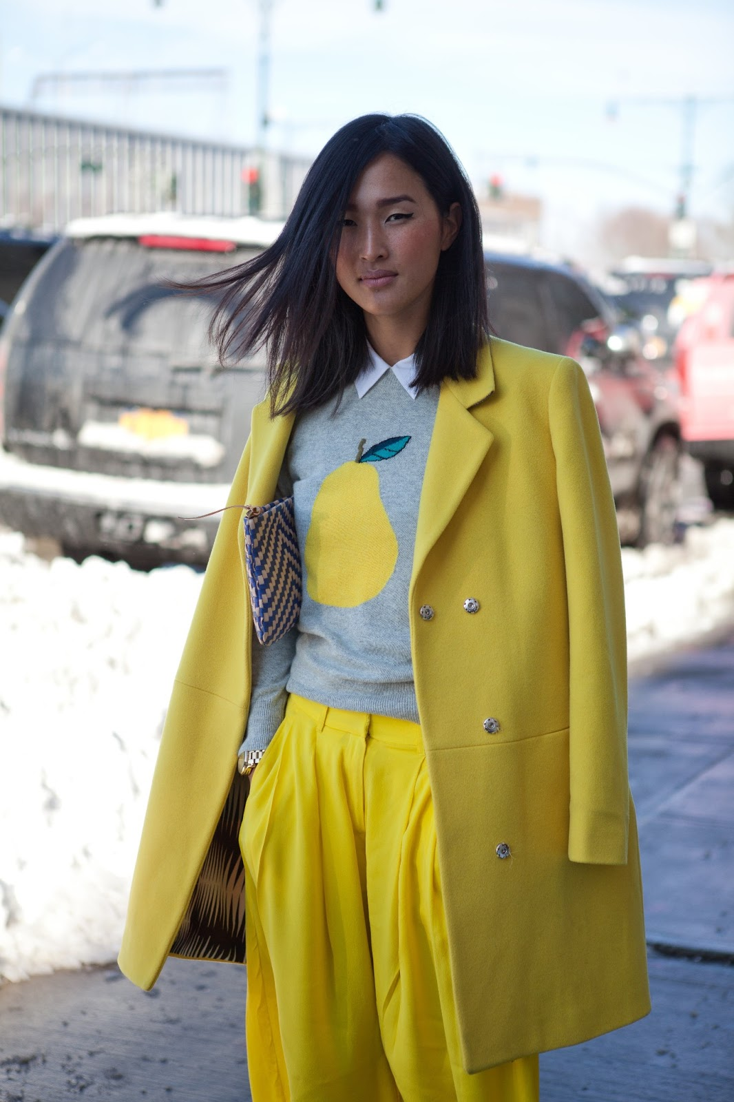 lemon-yellow-street style-coat-wide pant-printed sweater